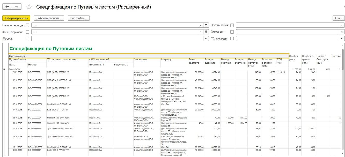 Отчеты программы Путевые листы для 1С