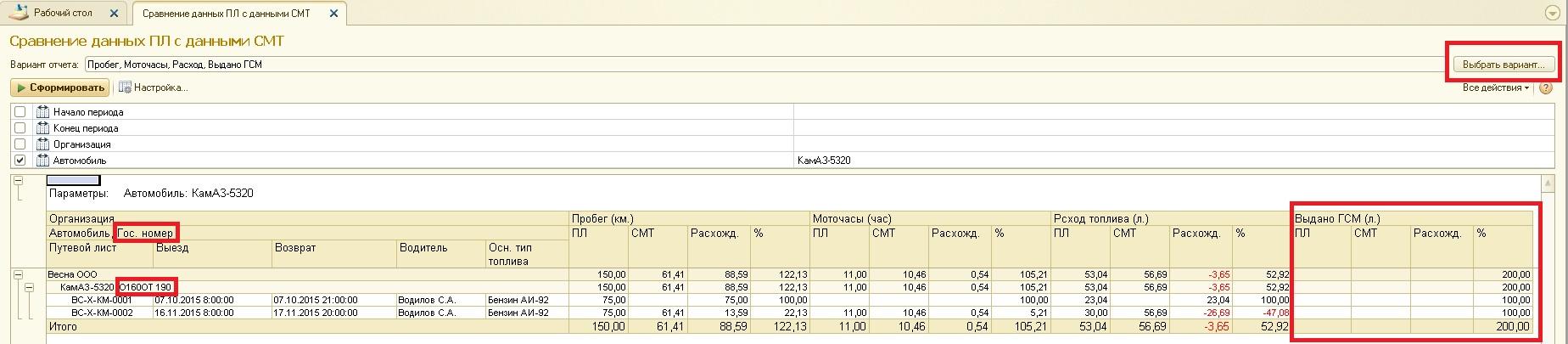 Отчет сравнения данных из wialon с данными 1с